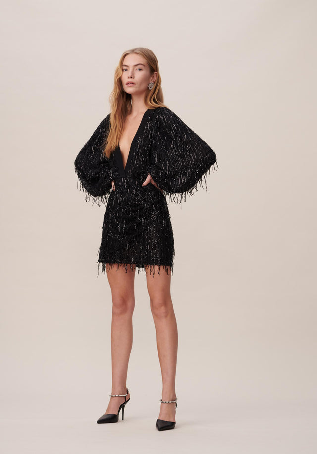 Dress Dallas Black - A grandiose minidress with billowing arms a deep V-neck, super...