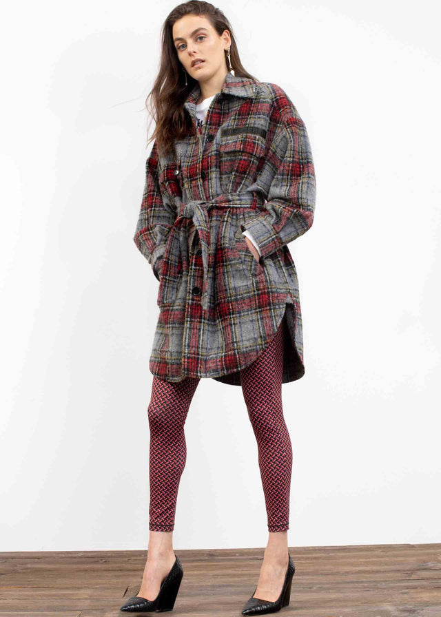 Coat Cay Check Multi - A sporty, check jacket with a brushed, wool-like surface, an...