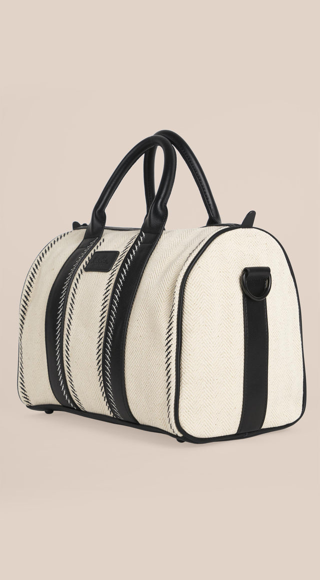 Duffle Bag Lima Hessian Natural Hessian Embroidery - A bowling bag made of natural, off-white canvas, featuring delicate... - 10/10