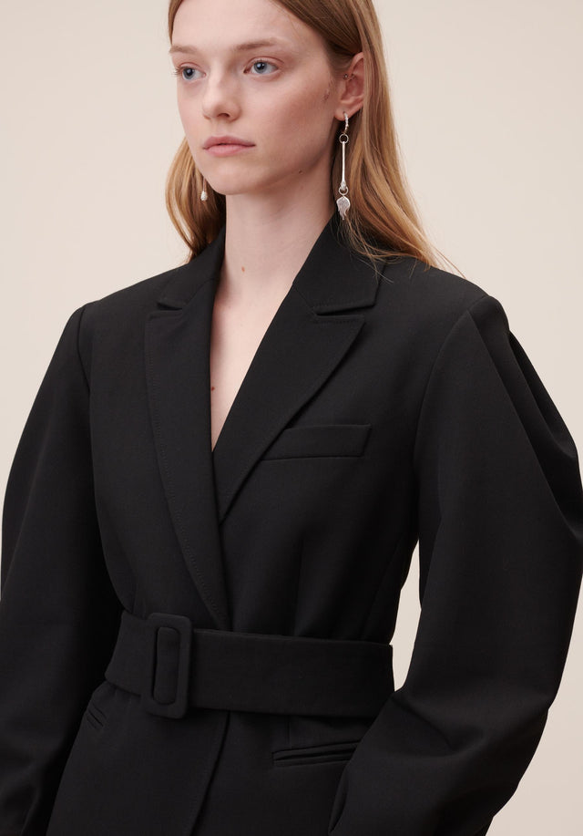 Jacket Java Black - A feminine blazer made of a slightly stretchy viscose blend,... - 3/8