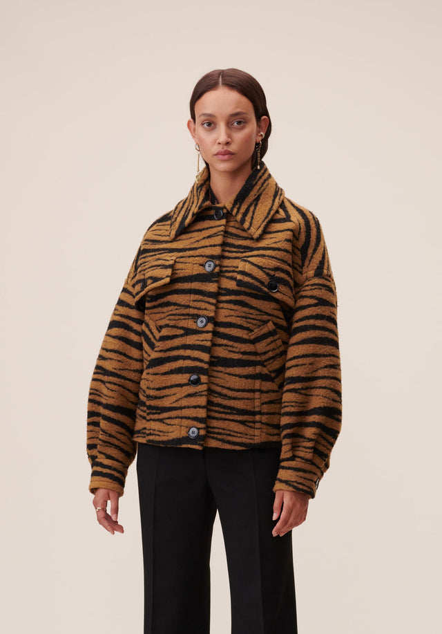 Jacket Jua Animal Bronze Zebra Wool - A oversized wool-blend jacket featuring our vibrant Fall/Winter 20 Bronze...