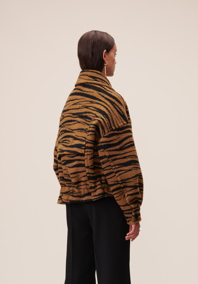 Jacket Jua Animal Bronze Zebra Wool - A oversized wool-blend jacket featuring our vibrant Fall/Winter 20 Bronze... - 3/7
