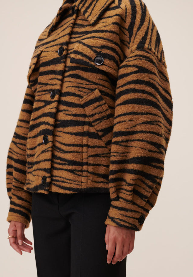 Jacket Jua Animal Bronze Zebra Wool - A oversized wool-blend jacket featuring our vibrant Fall/Winter 20 Bronze... - 4/7