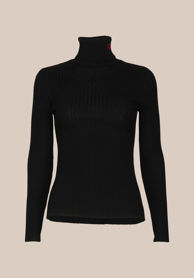 Jumper Becky Black - An elegant turtle neck jumper in classic black made of... - 6/6