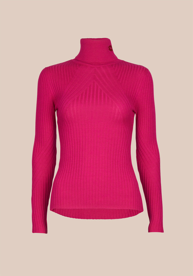 Jumper Becky Shocking Pink - An elegant turtleneck jumper in shocking pink made of soft... - 1/1
