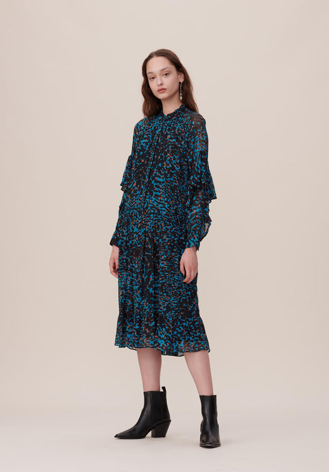 Dress Dalma Animal Noise Seaport - An elegant, flowing dress with a smart stand-up collar and...