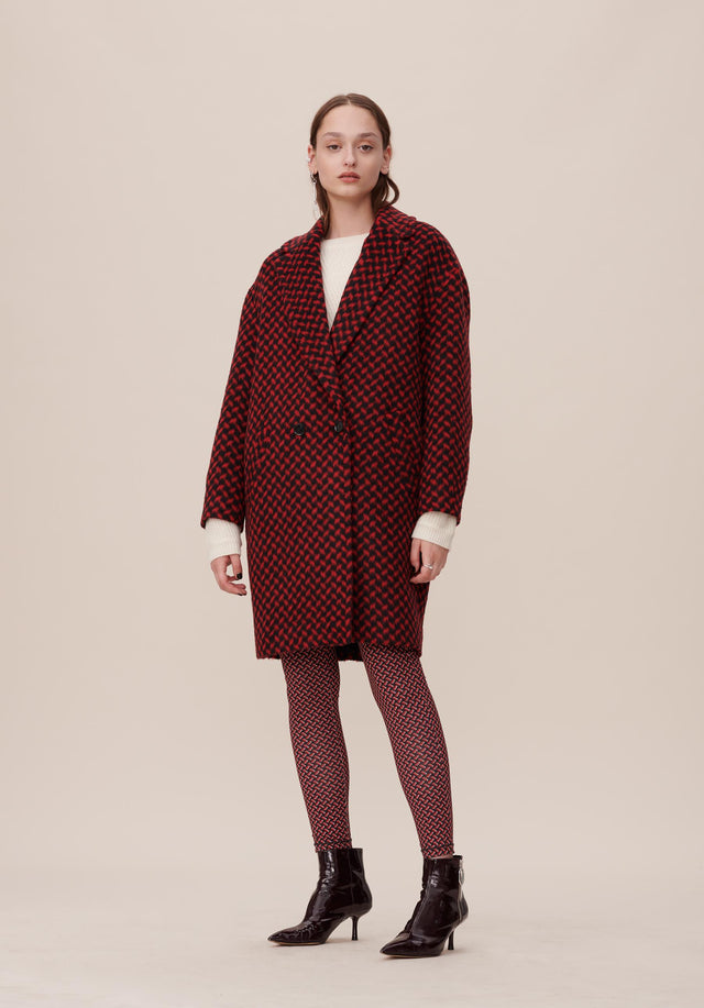 Coat Cyril Kufiya Kufiya Black/Tango Red - A warm and cosy coat made of a mohair blend,...