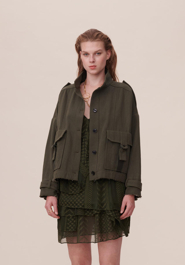Jacket Jace Olive - A sporty jacket made of a comfy cotton and linen...
