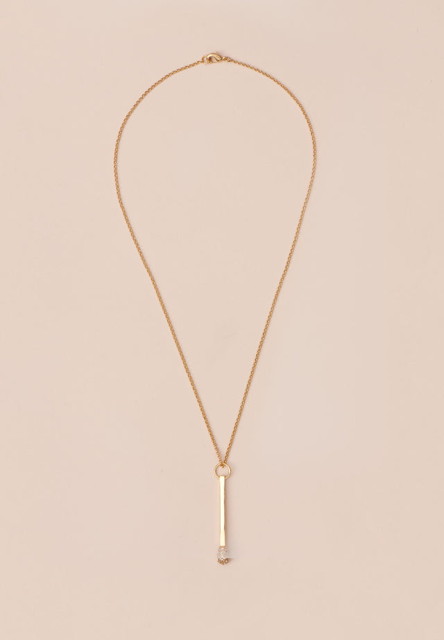 Necklace Aneta Gold - A delicate necklace with match pendant, topped off with Swarovski... - 1/3