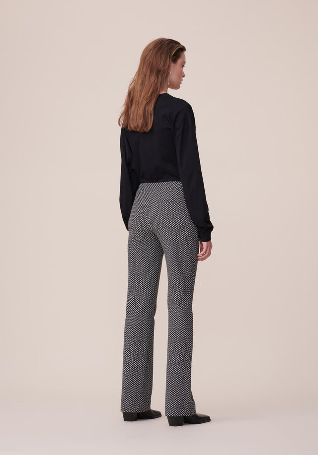 Pants Pauli Kufiya Black_White - Classy pants made of a stretchy cotton blend jacquard with... - 3/6