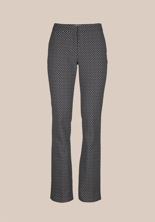 Pants Pauli Kufiya Black_White - Classy pants made of a stretchy cotton blend jacquard with... - 6/6