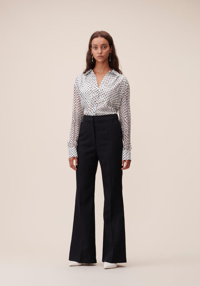 Pants Polli White Dots Black & White Dots - A carefully tailored, 70s inspired dress pant, topped off with... - 1/6