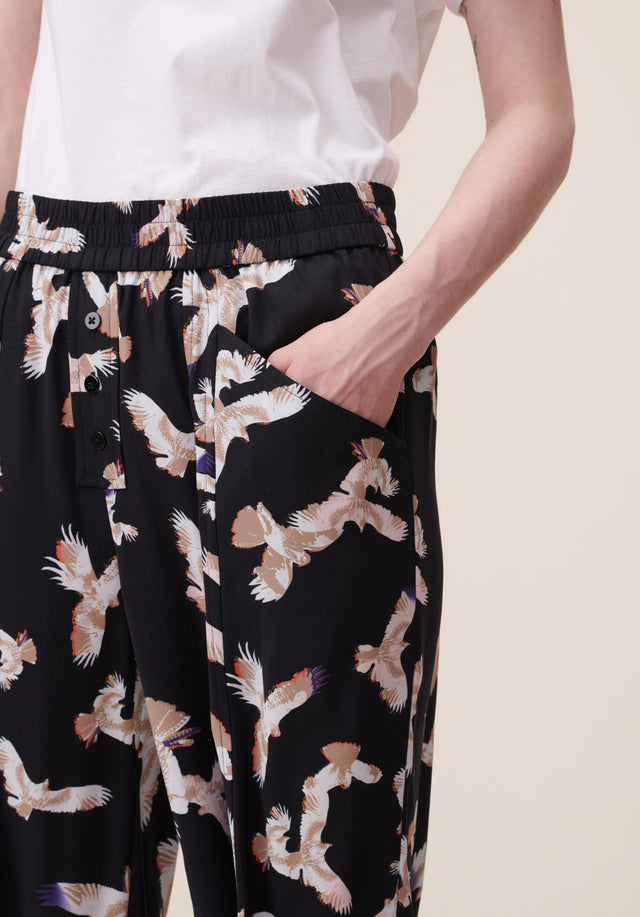 Pants Puffy Falcon Black Falcon - Elegant, lightweight pants featuring our Fall/Winter 20 Falcon Print with... - 3/5