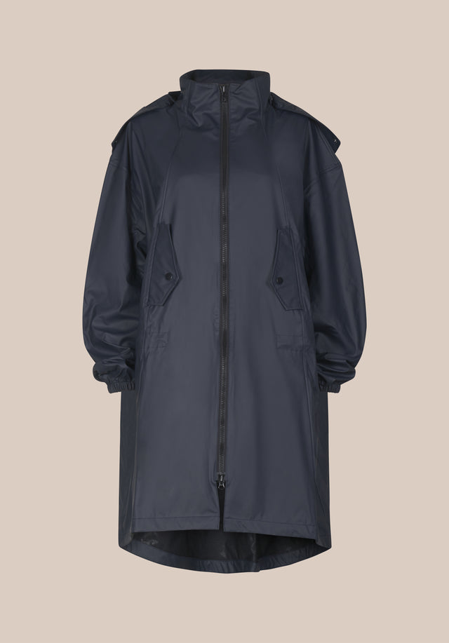 Raincoat Cain Black -  An oversized, hooded coat with contrasting lala Berlin logo on...