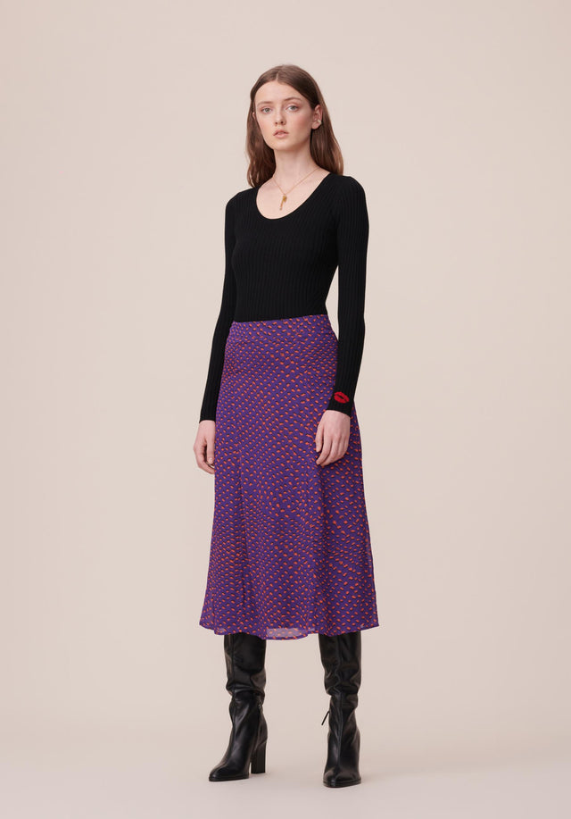 Skirt Semra Polka Kufiya Purple - A light and easy skirt featuring our Fall/Winter 20 Polka...
