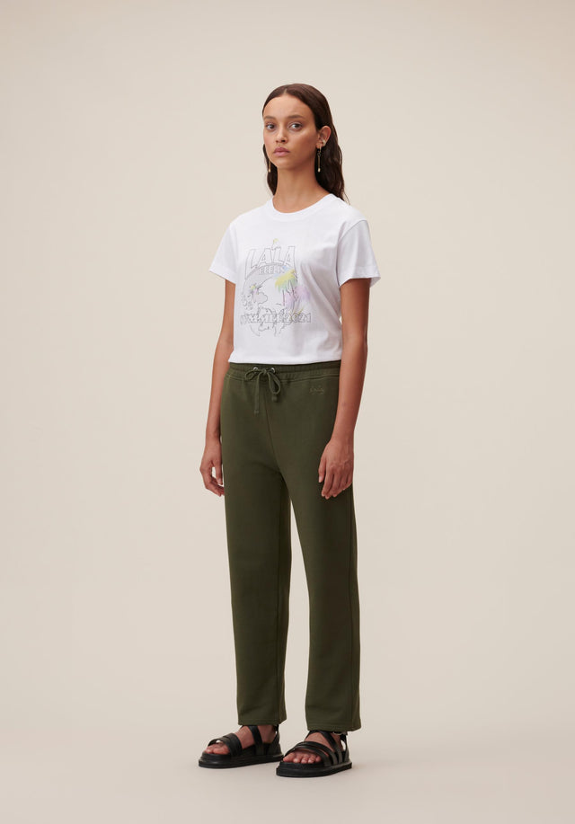 Sweatpants Yetka Olive - Chic sweatpants made of 100% cotton in a deep olive...