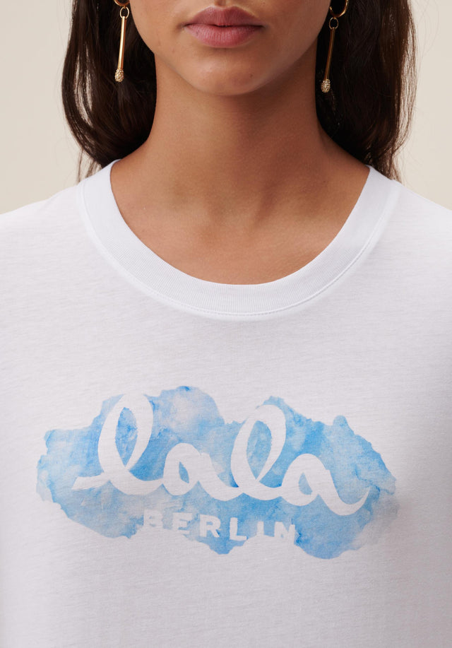 T-Shirt Cara Aquarelle Blue White - A casual t-shirt made of cotton, featuring a seasonal lala... - 4/6