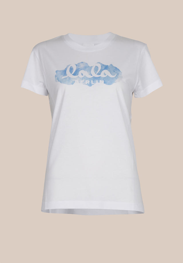 T-Shirt Cara Aquarelle Blue White - A casual t-shirt made of cotton, featuring a seasonal lala... - 6/6