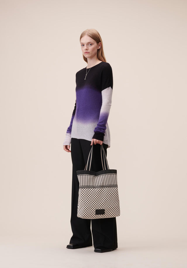 Tote Carmela Kufiya Off-White_Black - A light tote made of off-white canvas with a black...