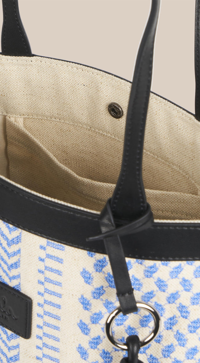 Tote Carmela X-Stitch Palace Blue X-Stitch - An elegant tote bag made of canvas, finished with high... - 5/7