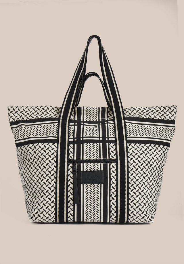 Tote Max Kufiya Off-White_Black - A roomy tote bag made of canvas with a black... - 4/7