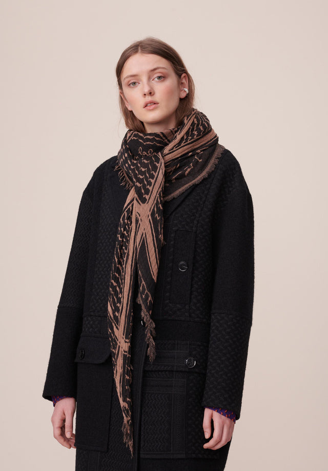 Triangle Angela Check Kufiya Black Camel - A triangle shaped scarf, made of high quality wool-cotton-blend with...