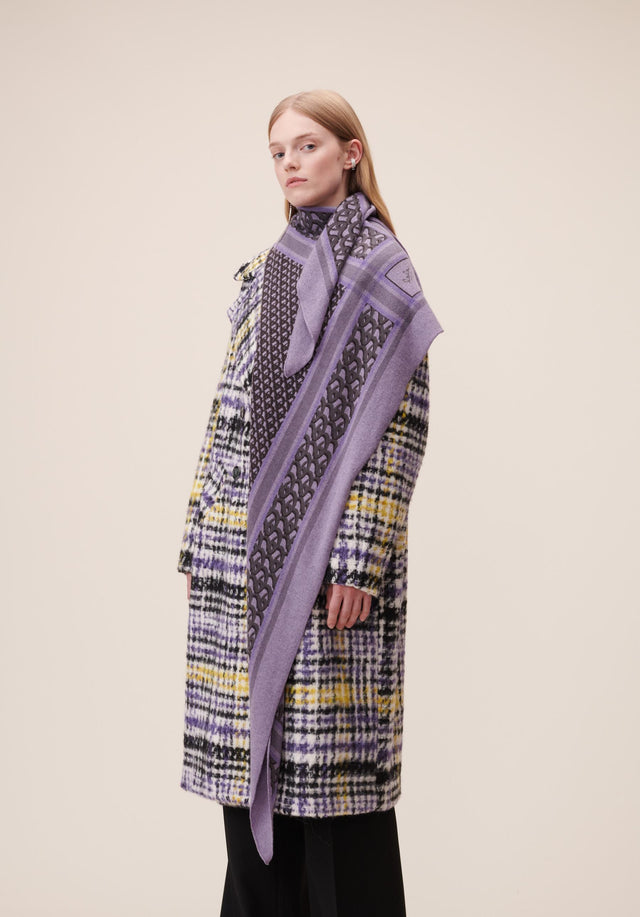 Triangle Monogram M Grey Monogram on Purple - A luxuriosly soft, triangle shaped cashmere scarf, featuring our lala...