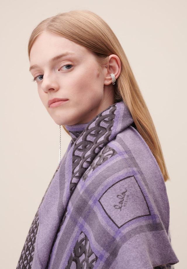 Triangle Monogram M Grey Monogram on Purple - A luxuriosly soft, triangle shaped cashmere scarf, featuring our lala... - 2/4