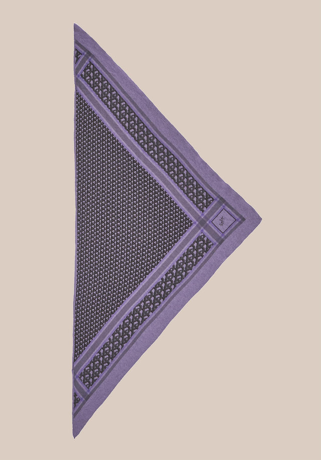 Triangle Monogram M Grey Monogram on Purple - A luxuriosly soft, triangle shaped cashmere scarf, featuring our lala... - 4/4