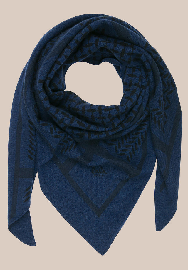 Triangle Trinity Classic M Inchiostro/darkblue - A luxuriosly soft, triangle shaped cashmere scarf, featuring a classic... - 1/2