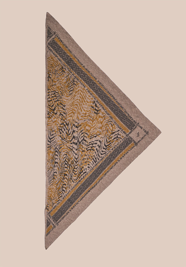 Triangle Zebra M Bronze Zebra on Stradivari - A luxuriosly soft, triangle shaped cashmere scarf, featuring our vibrant...