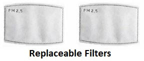 PM2.5 Filters for Reusable Washable Respirator Face Mask