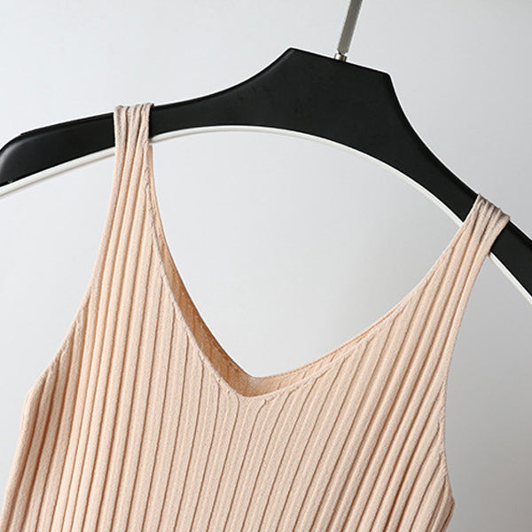 GOPLUS Strap Knitted Tank Top Women Sexy V-Neck Sleeveless Basic Vest Top Women's Casual Underwear Women Plus Size Camis Female