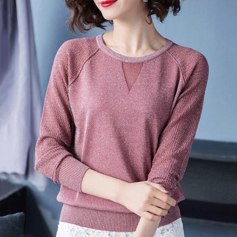Womens Pullover Spring Autumn Basic Blouse Shirts Ladies Long Sleeve Casual Tops Pullovers New Arrival Elastic Women