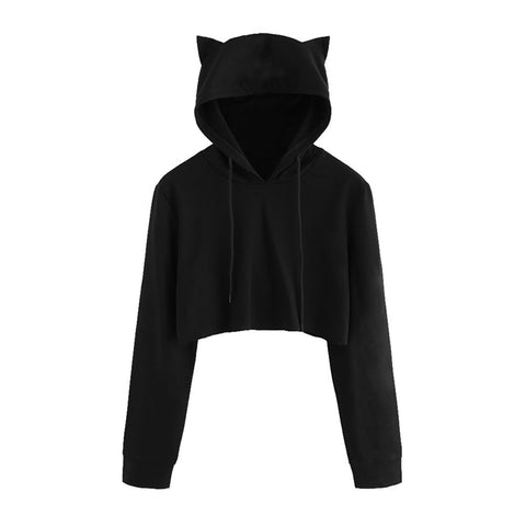 2019 Autumn Cute Women Casual Sweatshirts Hoodie Crop Tops Solid Cat Ear Long Sleeve Cropped Sweatshirt Hooded Pullover Big Size