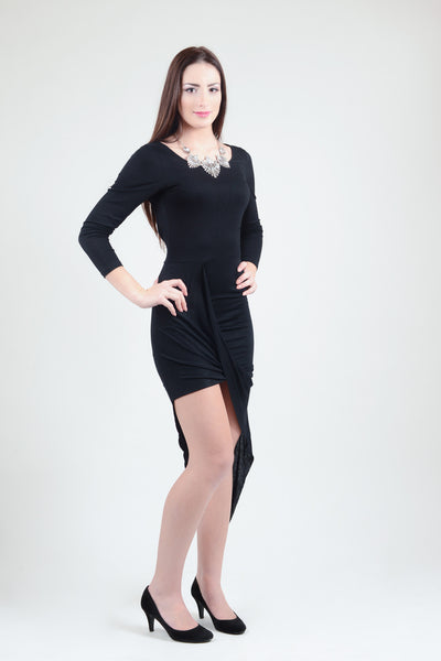 Black Asymmetric Iris Dress