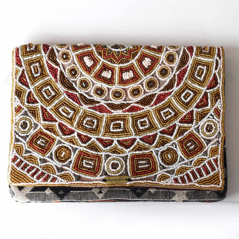 Gold Red White | Beaded Non-Leather Luxury Clutch Bag