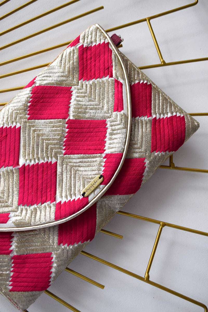 Light Gold and Red | Woven Non-Leather Luxury Clutch Bag