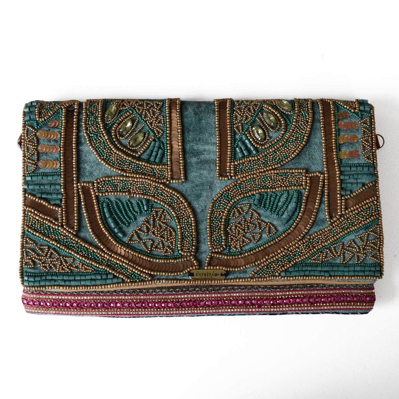 Turq and Bronze | Beaded Luxury Non-Leather Clutch Bag