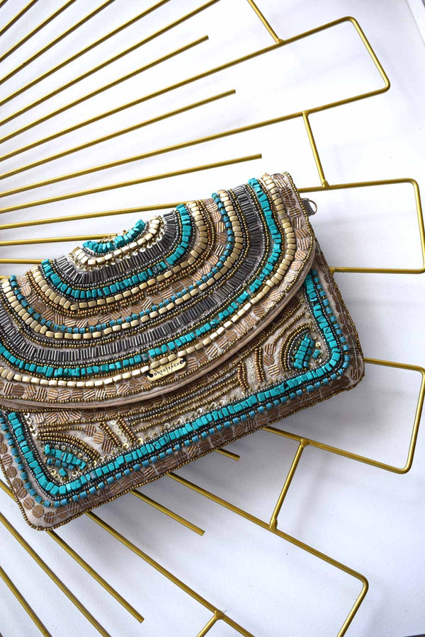 Non-Leather-Turquoise-and-Bronze-Beaded-Luxury-Clutch-Bag
