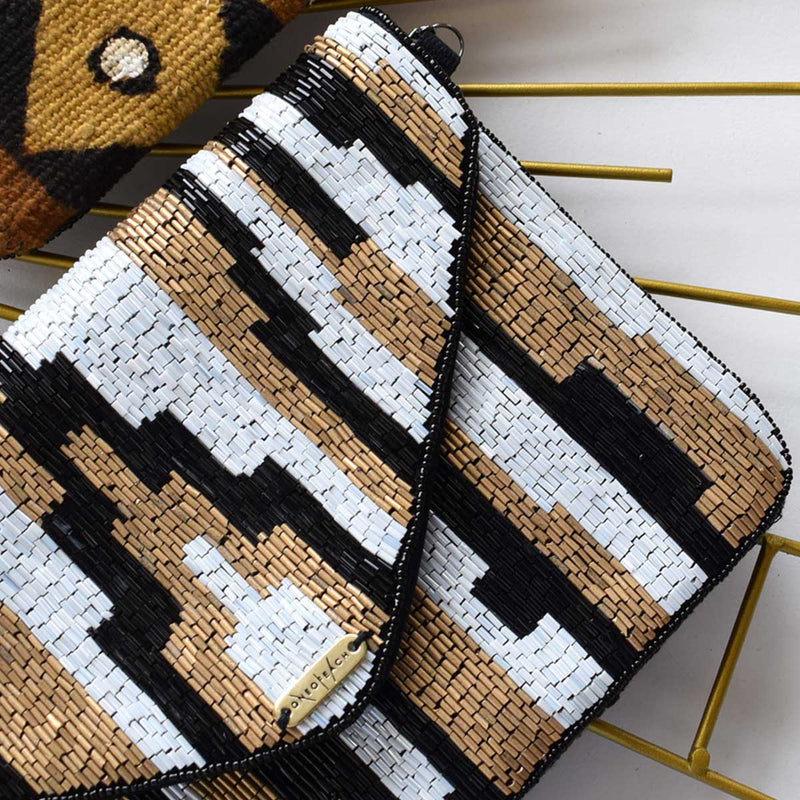 Bronze Black White | Non-Leather Beaded Luxury Clutch Bag