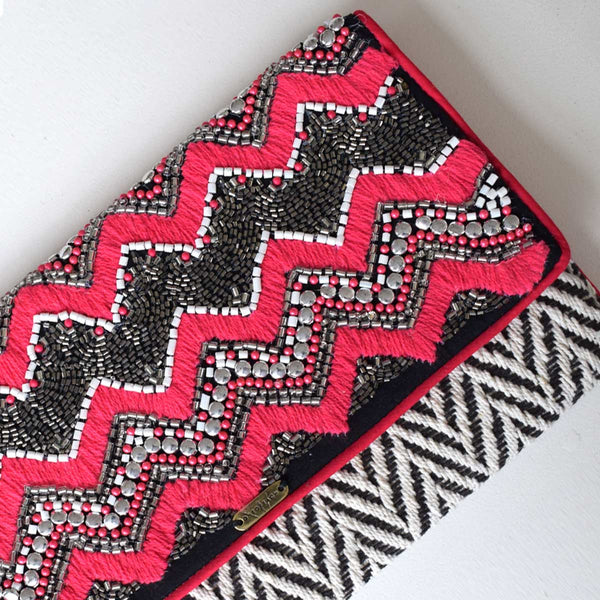 Pink Black Silver | Non-Leather Woven Beaded Cotton Luxury Clutch Bag