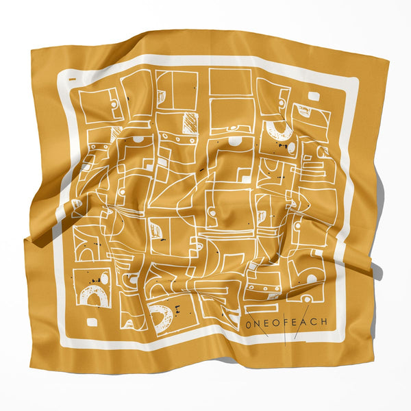 Doodles Geometric Pattern Print Scarf | Dark Gold