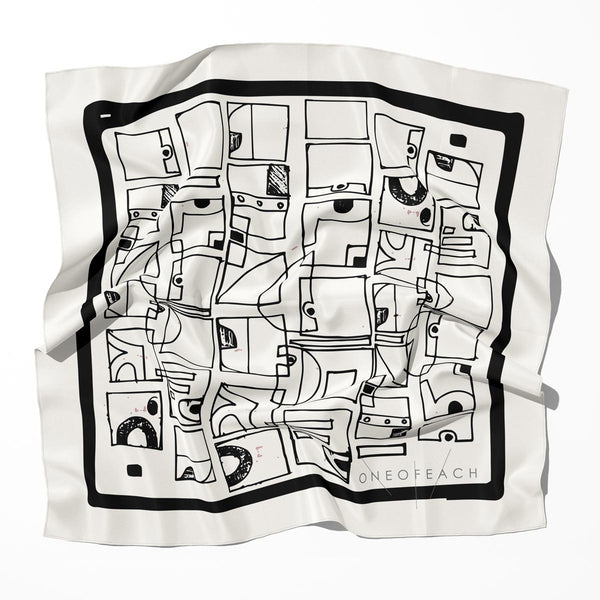 Doodles Geometric Pattern Print Scarf | Off-White