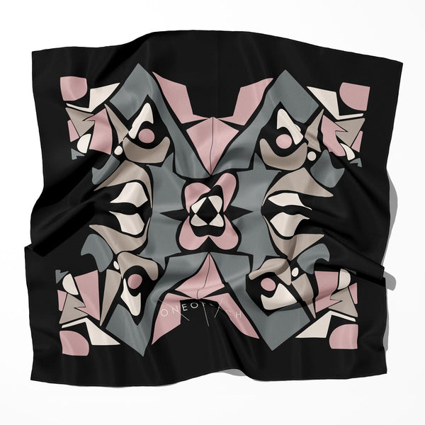 Geo-Shape Pattern Print Scarf | Black