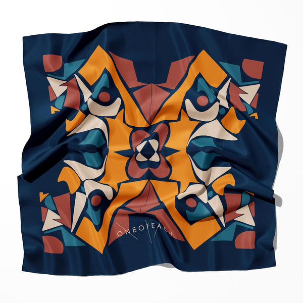 Geo-Shape Pattern Print Scarf | Blue Sunset