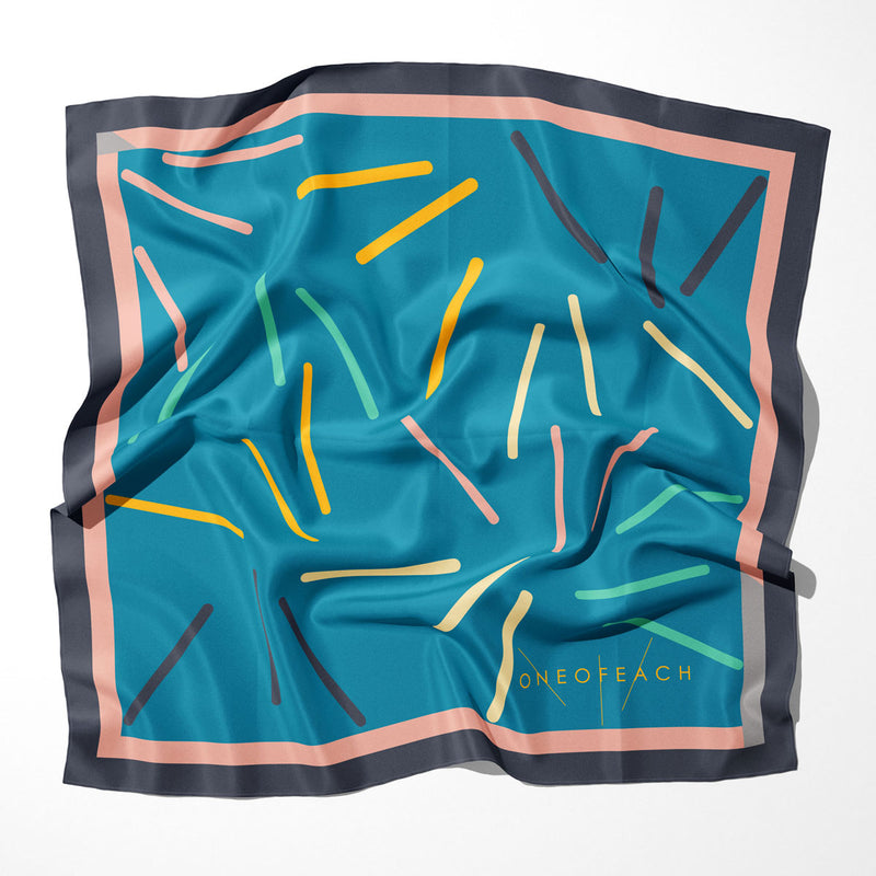 ONEOFEACH Signature Print Scarf | Mosaic Blue