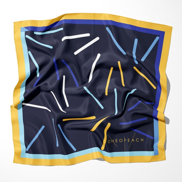 ONEOFEACH Signature Print Scarf | Navy Blue