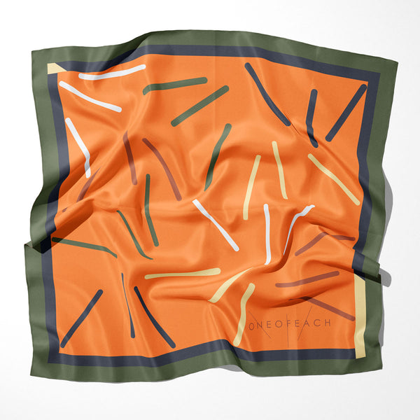 ONEOFEACH Signature Print Scarf | Orange Peel