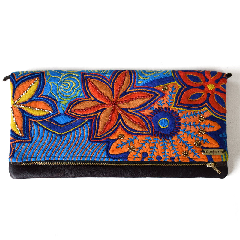 Blue and Orange Flowers | Embellished Luxury Clutch Bag